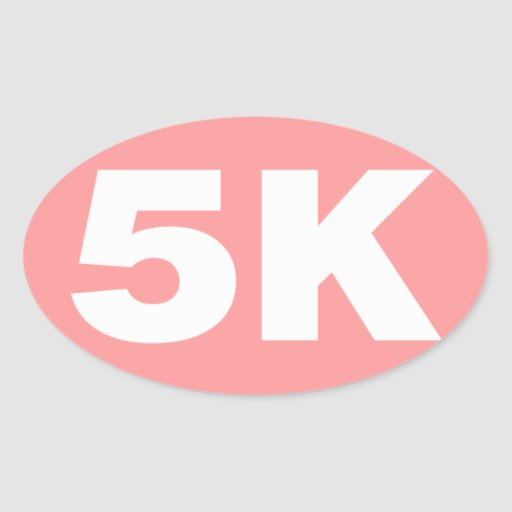 Pink 5 K Runner Oval Stickers