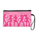 Pink 70's Disco Dancing Theme Design Wristlet Clutches