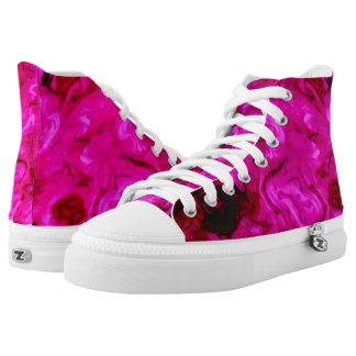 Pink Abstract Acrylic Painting High-Top Sneakers