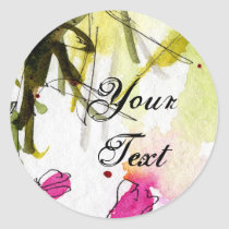 pink, artsy stickers, watercolors, abstract art, feminine art, artful, feminine, unique, ginette, customizable stickers, matching sets, Sticker with custom graphic design