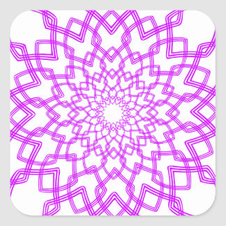 Pink Abstract Circle Pattern Square Sticker