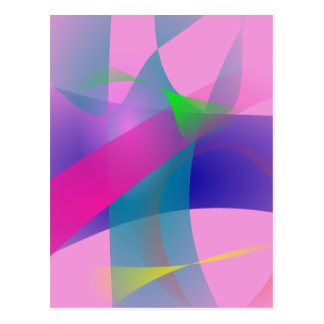 Pink Abstract Clear-Cut Outlines Postcard
