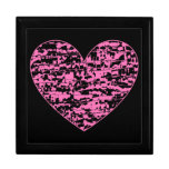 Pink Abstract Crackle Heart Jewelry Box