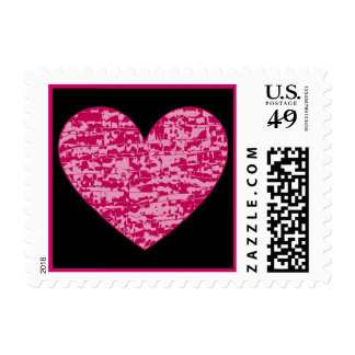 Pink Abstract Crackle Heart Postage