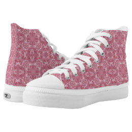 Pink Abstract Design Hi Top Shoes