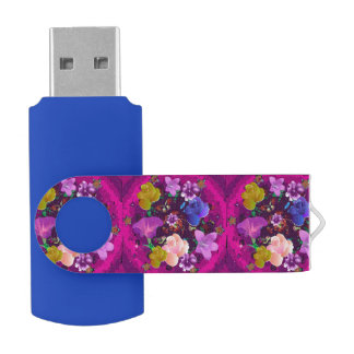 Pink Abstract Floral Blue Swivel USB Flash Drive