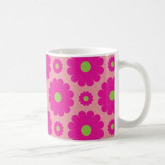Pink abstract floral design coffee mug