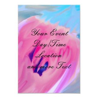 """pink abstract flower 3.5"""" x 5"""" invitation card"""