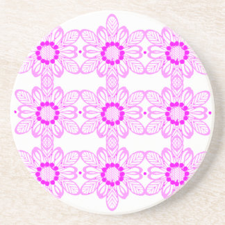 Pink abstract flowers coaster