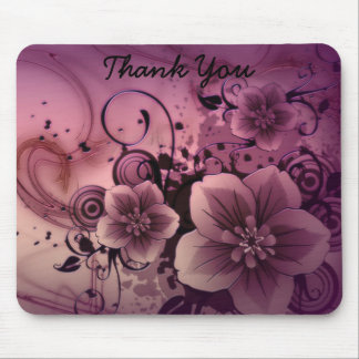 Pink Abstract Flowers Mouse Pad