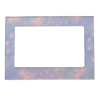 Pink Abstract Flowers on Blue Magnetic Picture Frames