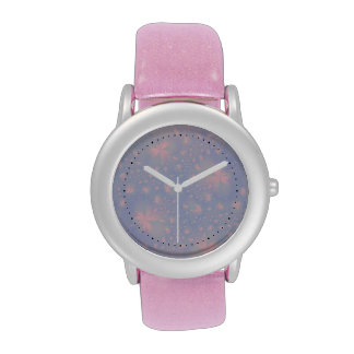 Pink Abstract Flowers on Blue Watch