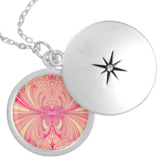 Pink Abstract Fractal Silver Plated Necklace