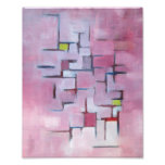 Pink Abstract Geometric Original Art Oil Painting Photo