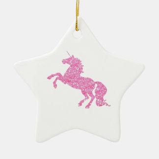 Pink Abstract Glitter Effect Unicorn Ceramic Ornament