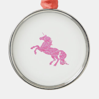 Pink Abstract Glitter Effect Unicorn Metal Ornament