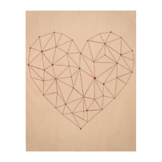 "Pink Abstract Heart 11""x14"" Wood Wall Art"