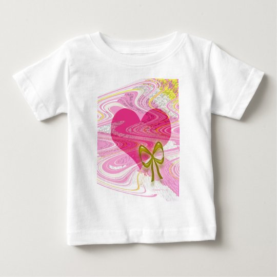 Pink Abstract Heart and Bow Baby T-Shirt