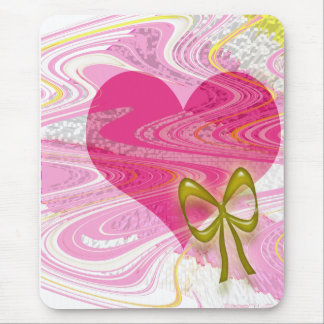 Pink Abstract Heart and Bow Mouse Pad