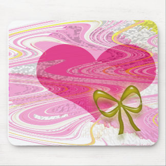 Pink Abstract Heart and Bow Mousepad