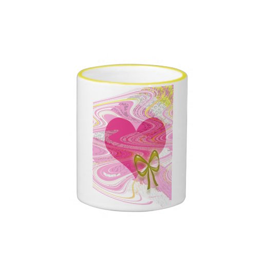 Pink Abstract Heart and Bow Ringer Coffee Mug