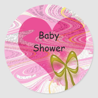 Pink Abstract Heart and Bow Round Stickers
