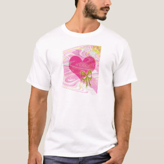 Pink Abstract Heart and Bow T-Shirt