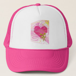 Pink Abstract Heart and Bow Trucker Hat
