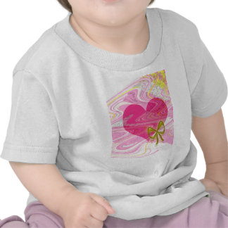 Pink Abstract Heart and Bow Tee Shirt