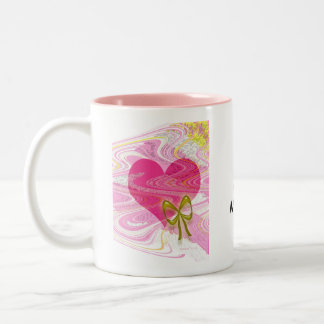 Pink Abstract Heart and Bow Two-Tone Coffee Mug