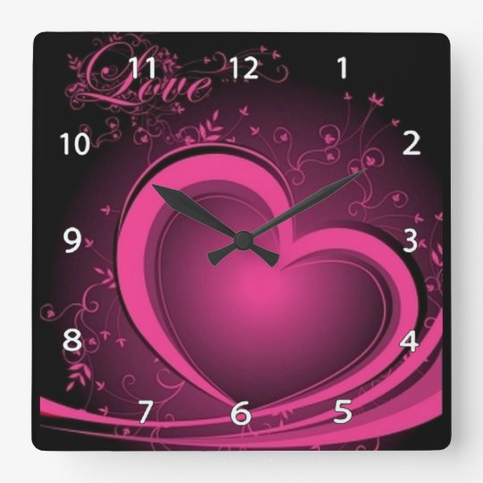 Pink Abstract Heart Clock