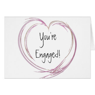 Pink Abstract Heart Engagement Greeting Card