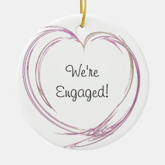 Pink Abstract Heart Engagement Ceramic Ornament