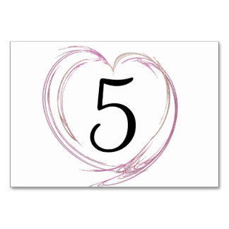 Pink Abstract Heart Table Numbers Card
