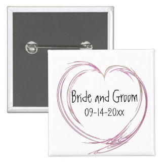 Pink Abstract Heart Wedding 2 Inch Square Button
