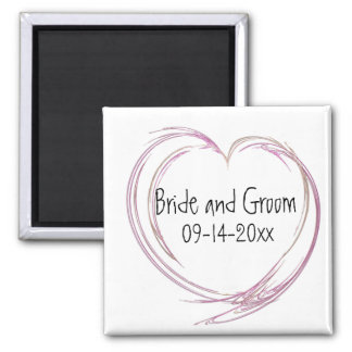 Pink Abstract Heart Wedding 2 Inch Square Magnet