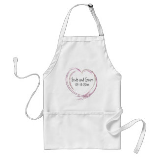 Pink Abstract Heart Wedding Adult Apron