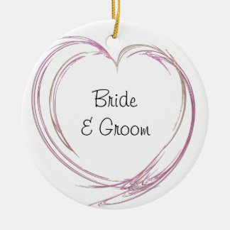 Pink Abstract Heart Wedding Ceramic Ornament