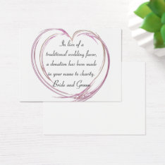 Pink Abstract Heart Wedding Charity Favor Card at Zazzle