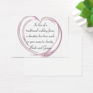 Pink Abstract Heart Wedding Charity Favor Card