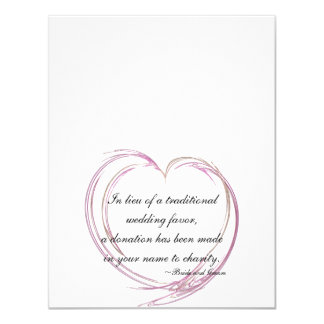 Pink Abstract Heart Wedding Charity Favor Cards