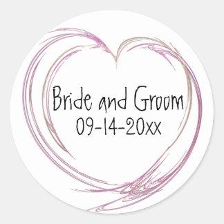 Pink Abstract Heart Wedding Envelope Seal Round Sticker