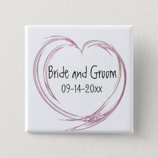 Pink Abstract Heart Wedding Pinback Button