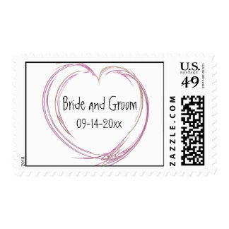 Pink Abstract Heart Wedding Postage