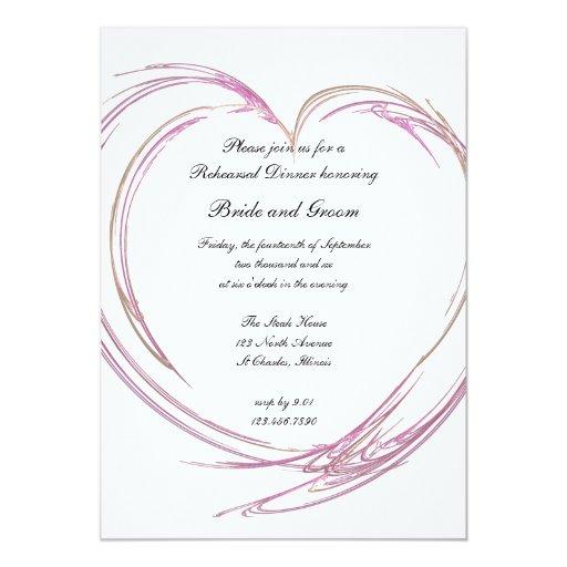 "Pink Abstract Heart Wedding Rehearsal Dinner 5"" X 7"" Invitation Card"