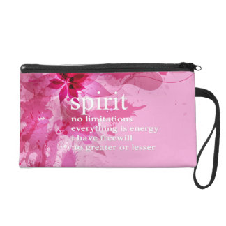 Pink Abstract Inspirational Spiritual Quote Wristlet Purses