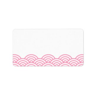 Pink abstract Japanese wave pattern blank labels zazzle_label