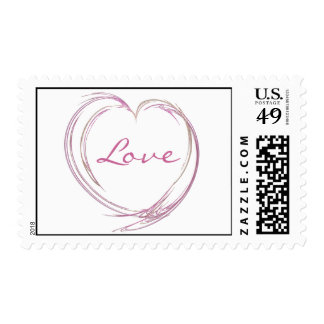 Pink Abstract Love Heart Postage