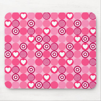 Pink abstract pattern with dots, flowers, hearts a mouse pad