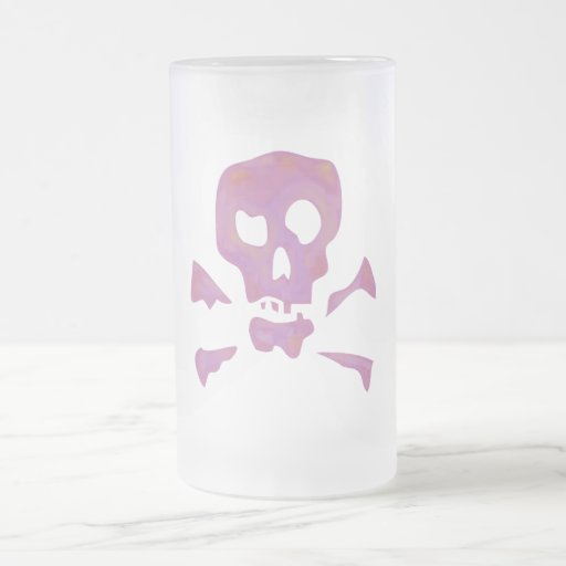 Pink Abstract Skulls 16 Oz Frosted Glass Beer Mug